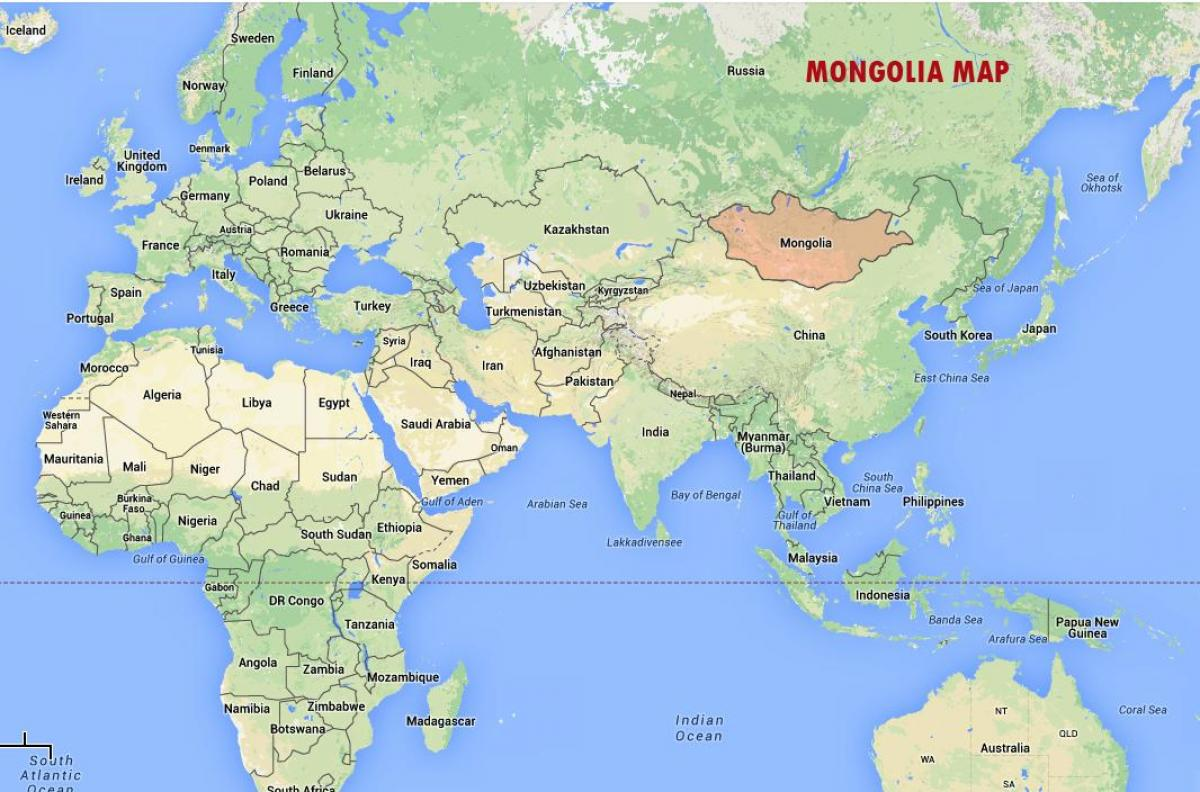 Mongolei Auf Der World Map Weltkarte Der Mongolei Ost Asien